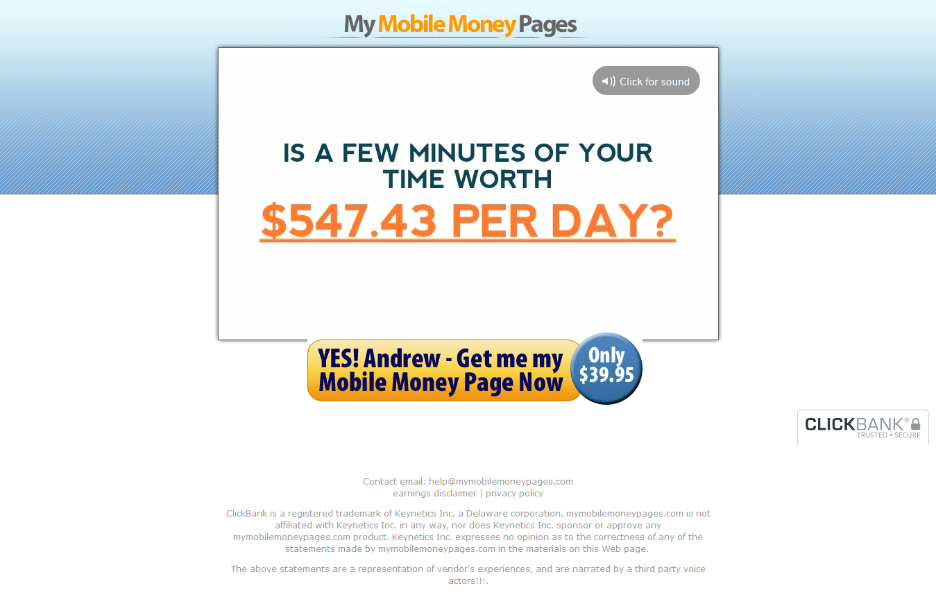My Mobile Money Pages Claim